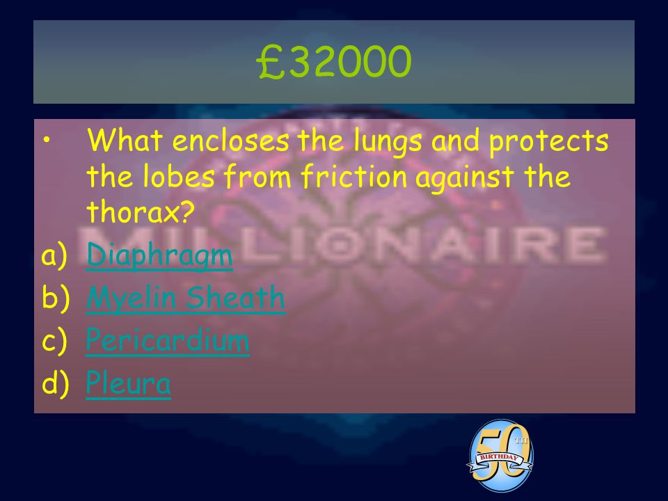 £32000 What encloses the lungs and protects the lobes from friction against the thorax.