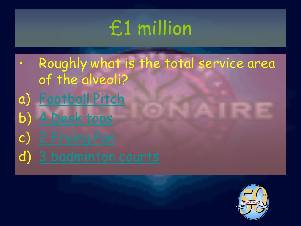 £1 million Roughly what is the total service area of the alveoli.
