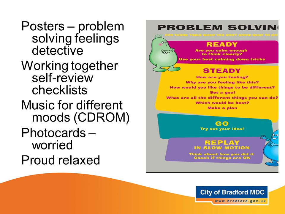 Resources – Year 1 Posters – problem solving feelings detective Working together self-review checklists Music for different moods (CDROM) Photocards – worried Proud relaxed