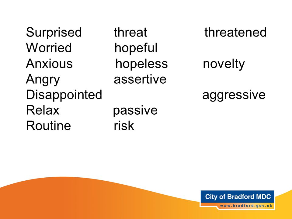 Key vocabulary – Years 3 and 4 Surprised threat threatened Worried hopeful Anxious hopeless novelty Angry assertive Disappointed aggressive Relax passive Routine risk