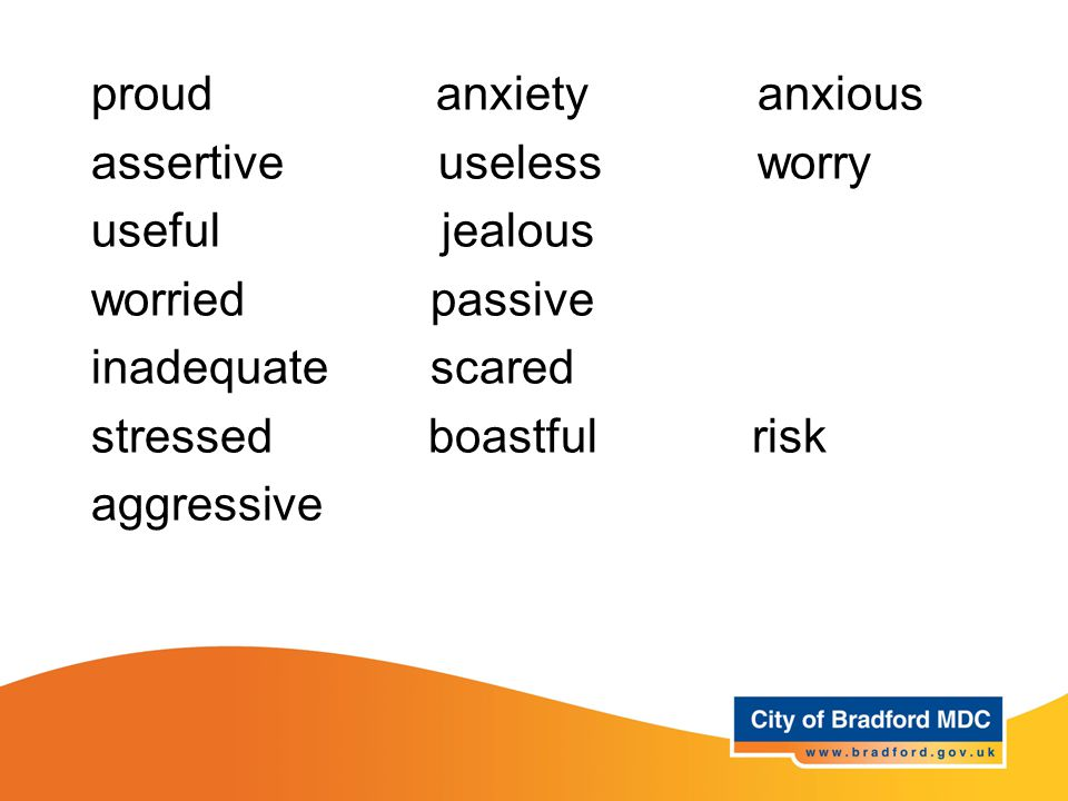 Key vocabulary – Years proud anxiety anxious assertive useless worry useful jealous worried passive inadequate scared stressed boastful risk aggressive
