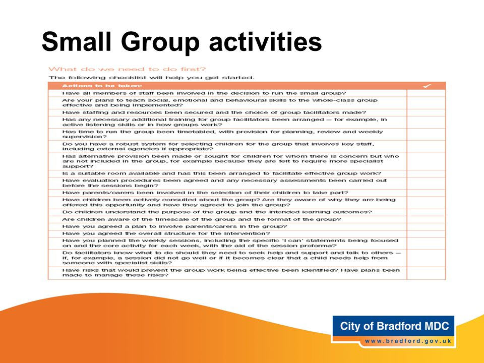 Small Group activities Is your school ready for group work