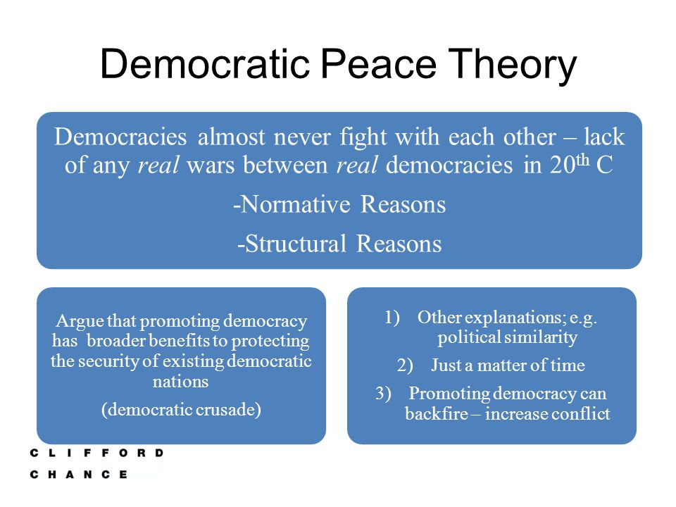 Explaining the correlation Structural accounts attribute the democratic peace to the institutional constraints within democracies which limit leaders' actions and power (liberal institutions).