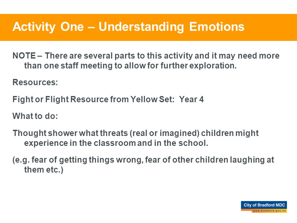 Activity One – Understanding Emotions NOTE – There are several parts to this activity and it may need more than one staff meeting to allow for further