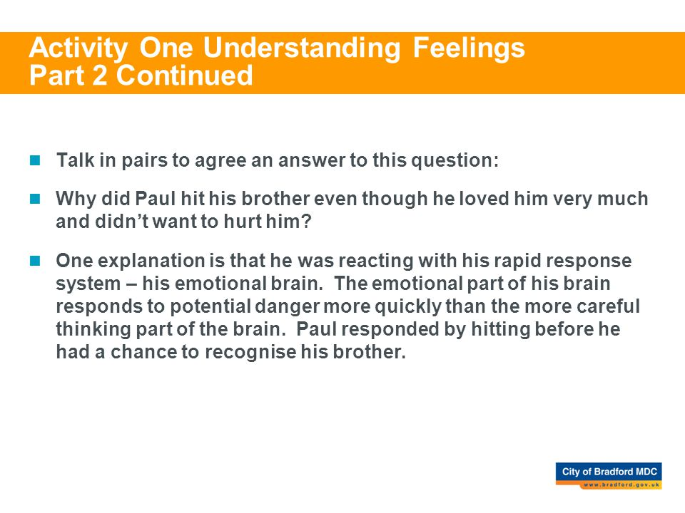 Activity One Understanding Feelings Part 2 Continued Talk in pairs to agree an answer to this question: Why did Paul hit his brother even though he lo