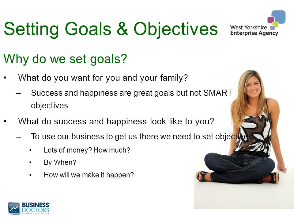 Setting Goals & Objectives Why do we set goals. What do you want for you and your family.
