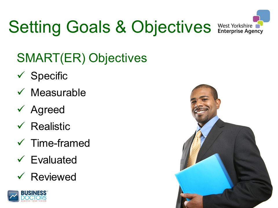 Setting Goals & Objectives SMART(ER) Objectives Specific Measurable Agreed Realistic Time-framed Evaluated Reviewed