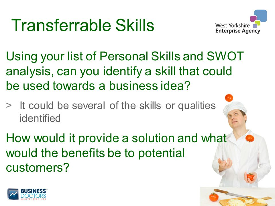 Transferrable Skills Using your list of Personal Skills and SWOT analysis, can you identify a skill that could be used towards a business idea.
