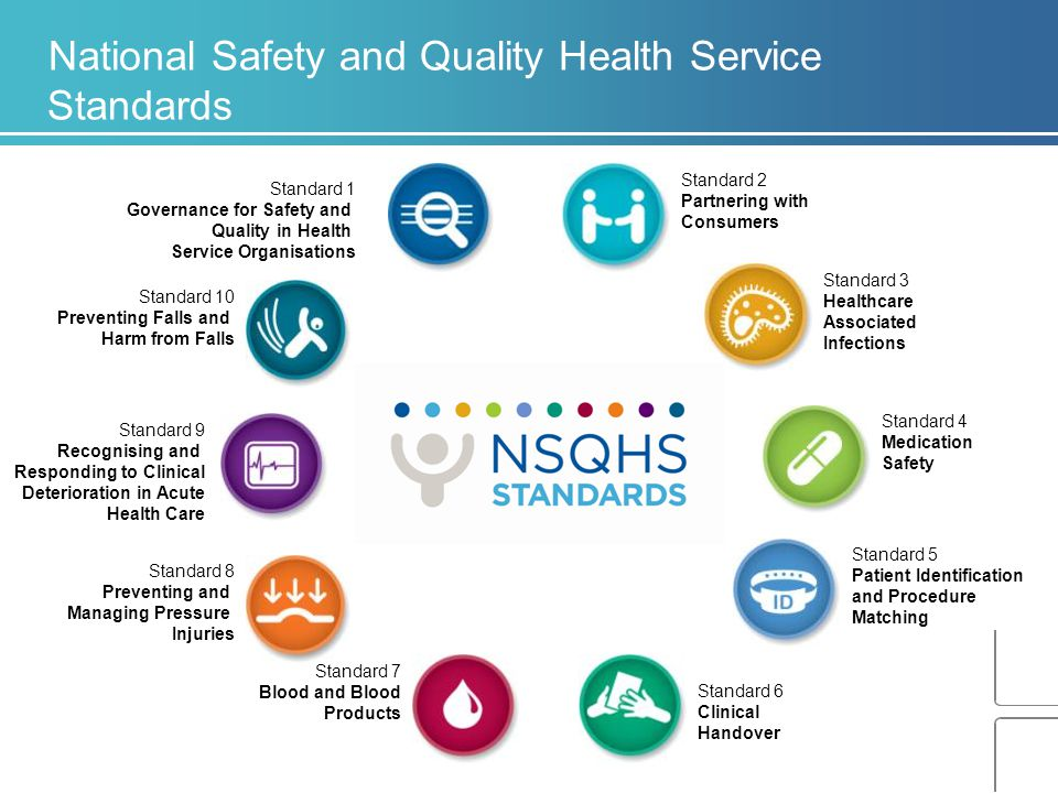 Standard 7 Blood and Blood Products Standard 10 Preventing Falls and Harm from Falls Standard 1 Governance for Safety and Quality in Health Service Or
