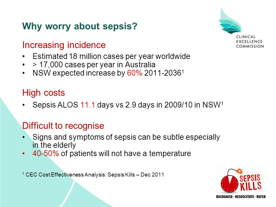 Why worry about sepsis? Increasing incidence Estimated 18 million cases per year worldwide > 17,000 cases per year in Australia NSW expected increase
