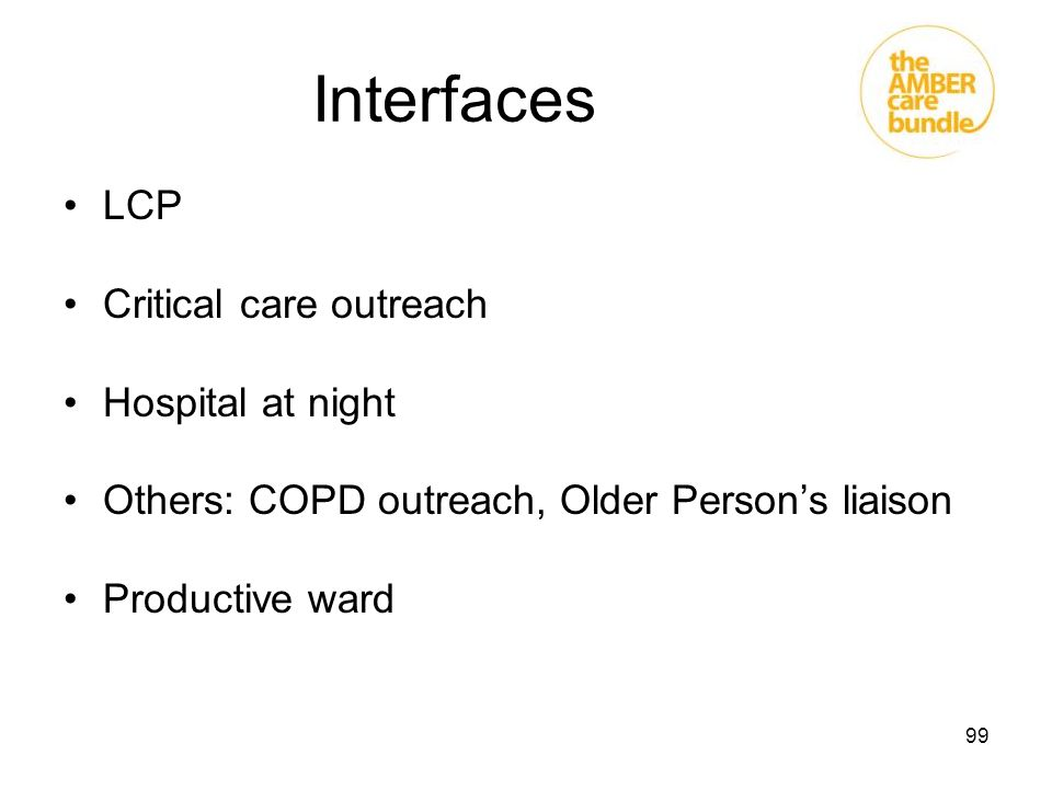 99 Interfaces LCP Critical care outreach Hospital at night Others: COPD outreach, Older Person's liaison Productive ward