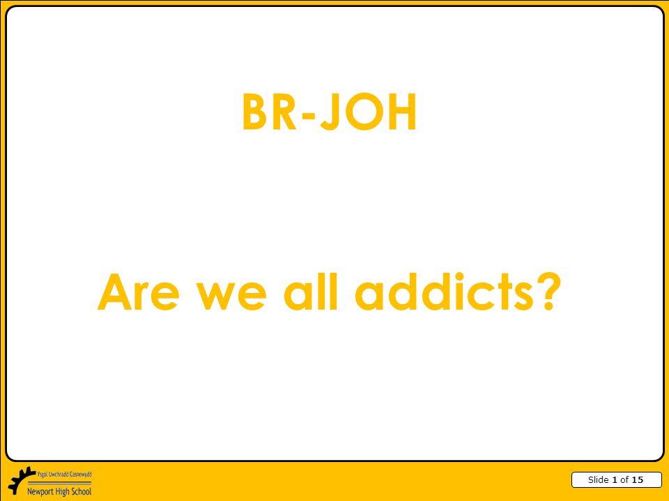 Slide 2 of 15 Types of Addiction Caffeine Drugs Alcohol Smoking Gambling Chocolate Internet Exercise Junk food Work Shopping