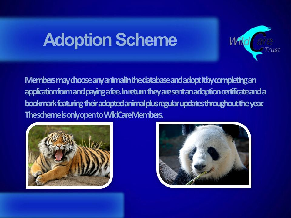 Adoption Scheme Members may choose any animal in the database and adopt it by completing an application form and paying a fee.