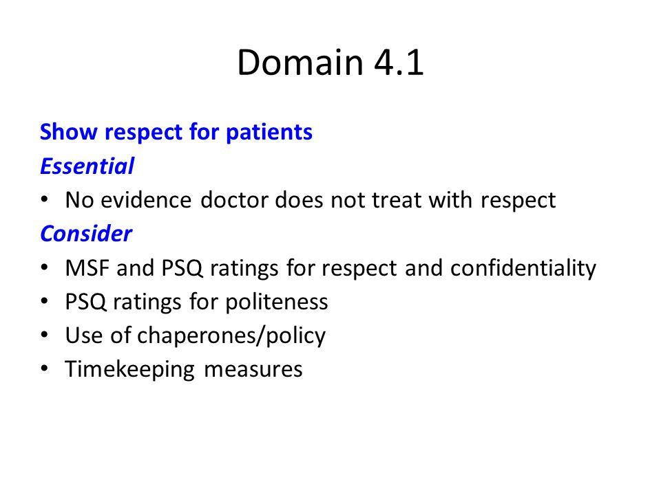 Domain 4.1 Show respect for patients Essential No evidence doctor does not treat with respect Consider MSF and PSQ ratings for respect and confidentiality PSQ ratings for politeness Use of chaperones/policy Timekeeping measures