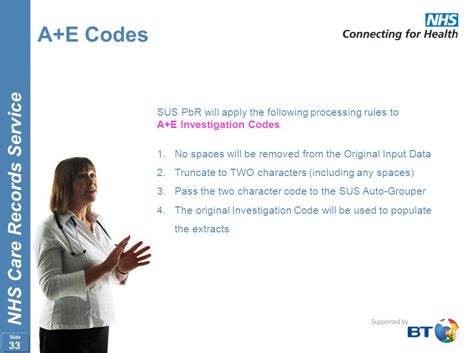 NHS Care Records Service Slide 32 A+E Codes SUS PbR will apply the following processing rules to A+E Treatment Codes 1. No spaces will be removed from