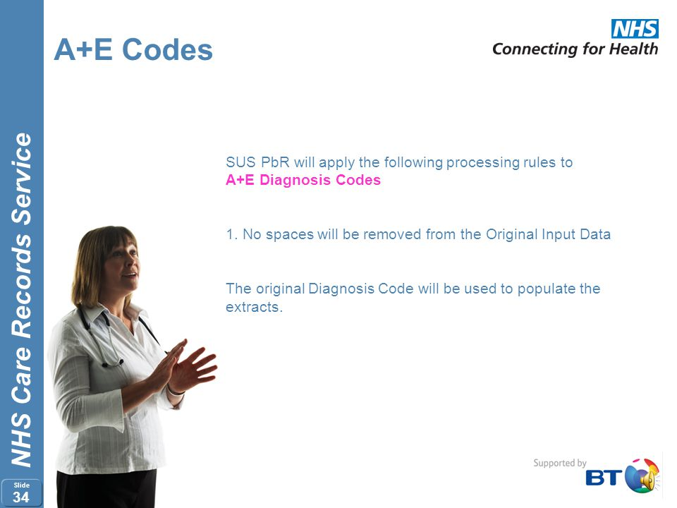 NHS Care Records Service Slide 33 A+E Codes SUS PbR will apply the following processing rules to A+E Investigation Codes 1.No spaces will be removed f