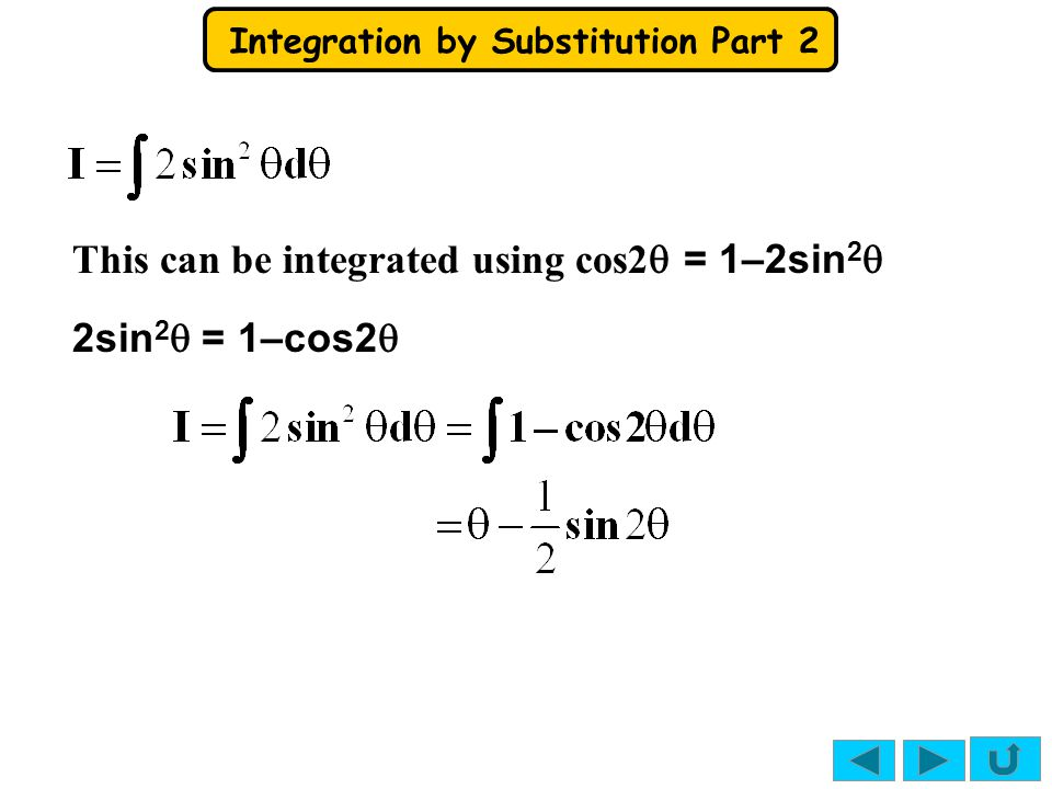 Integration by Substitution Part 2 x = sin 2 θ So if x= ¼ sin 2  = ¼ sin  = ½  =  / 6 So if x= 0 sin 2  = 0 sin  = 0  = 