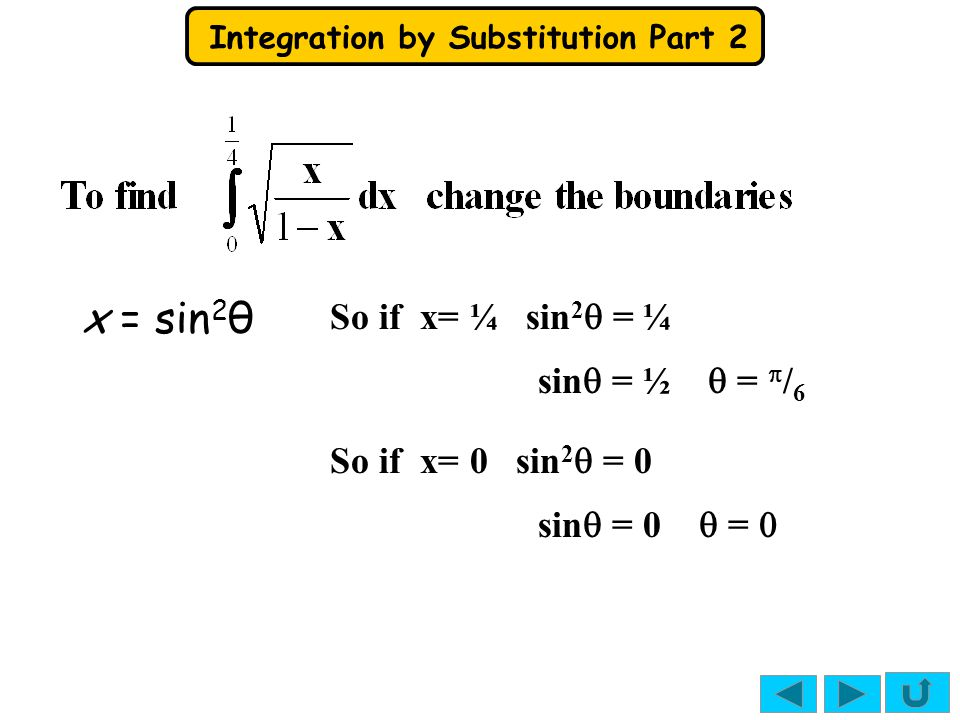 Integration by Substitution Part 2  =  / 6  = 