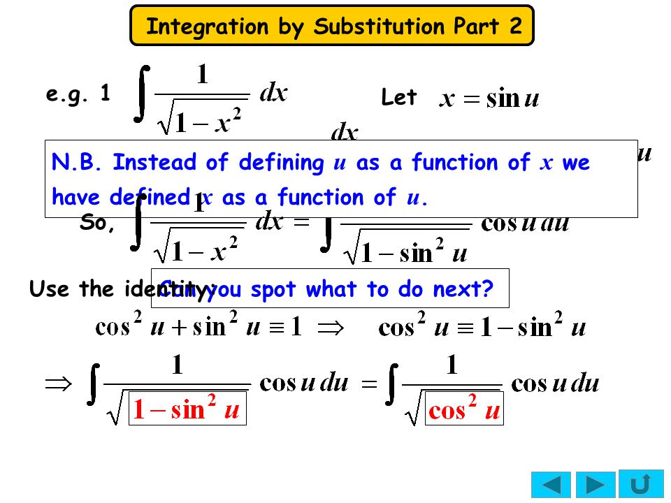 Integration by Substitution Part 2 So, We need u from the substitution expression: where