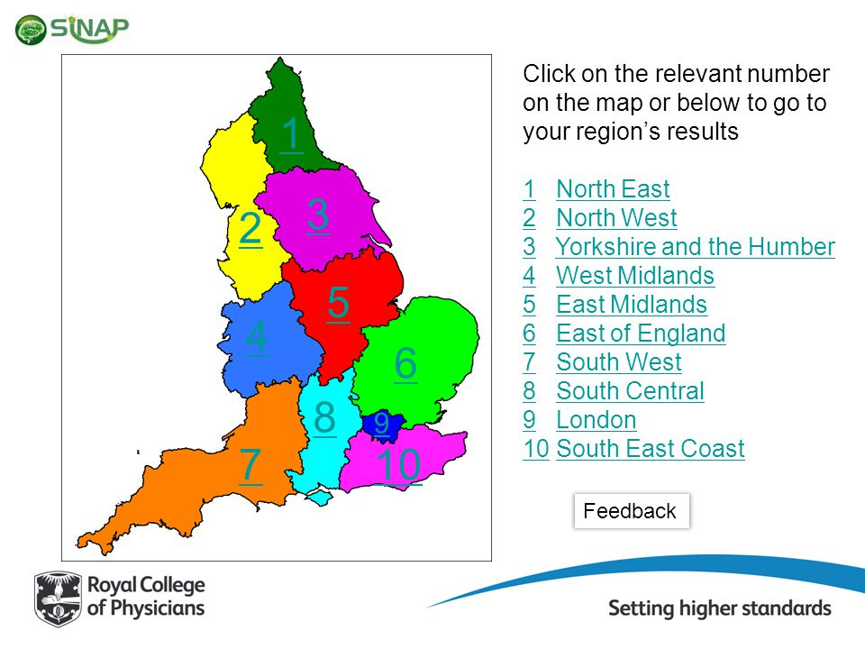 3 Click on the relevant number on the map or below to go to your region's results 11 North EastNorth East 22 North WestNorth West 33 Yorkshire and the HumberYorkshire and the Humber 44 West MidlandsWest Midlands 55 East MidlandsEast Midlands 66 East of EnglandEast of England 77 South WestSouth West 88 South CentralSouth Central 99 LondonLondon 1010 South East CoastSouth East Coast 1 2 5 4 6 7 8 10 9 Feedback