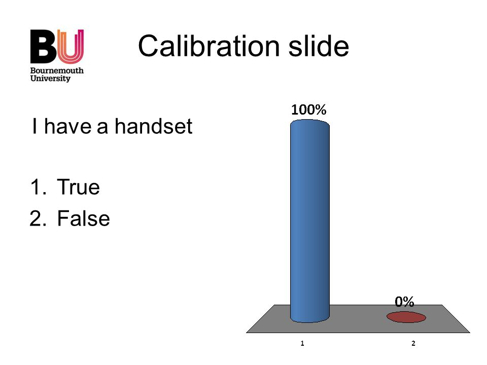 Calibration slide 1.True 2.False I have a handset