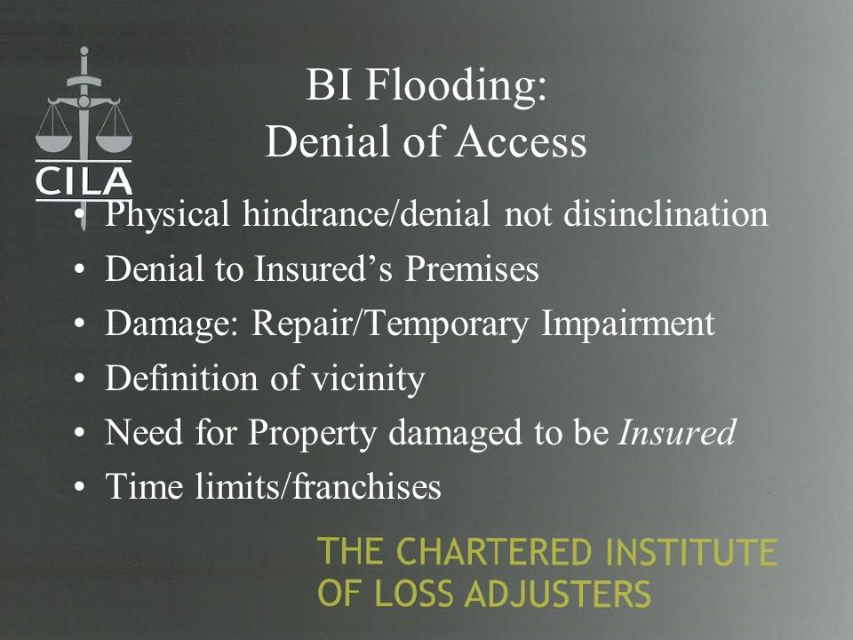 BI Flooding: Denial of Access Physical hindrance/denial not disinclination Denial to Insured's Premises Damage: Repair/Temporary Impairment Definition of vicinity Need for Property damaged to be Insured Time limits/franchises