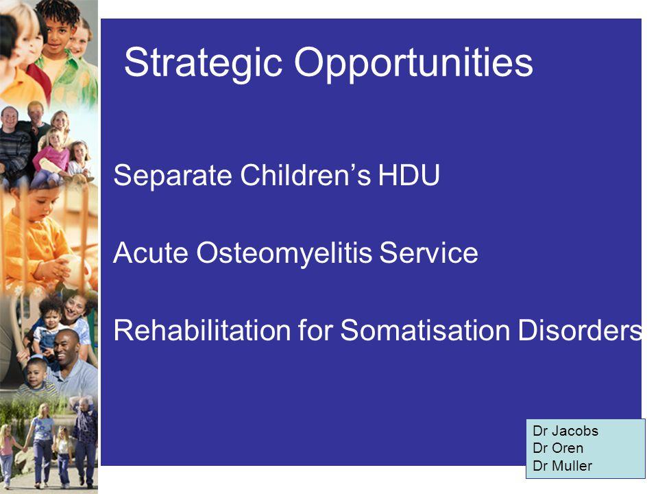 Strategic Opportunities Separate Children's HDU Acute Osteomyelitis Service Rehabilitation for Somatisation Disorders Dr Jacobs Dr Oren Dr Muller