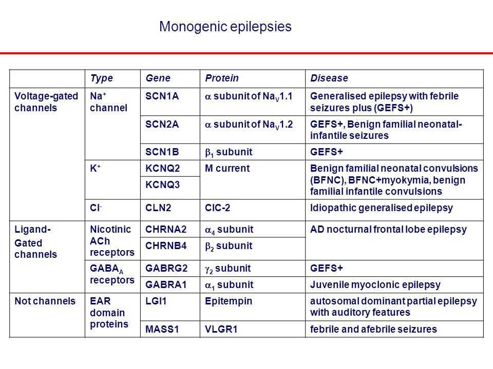 Monogenic epilepsies TypeGeneProteinDisease Voltage-gated channels Na + channel SCN1A  subunit of Na V 1.1 Generalised epilepsy with febrile seizures