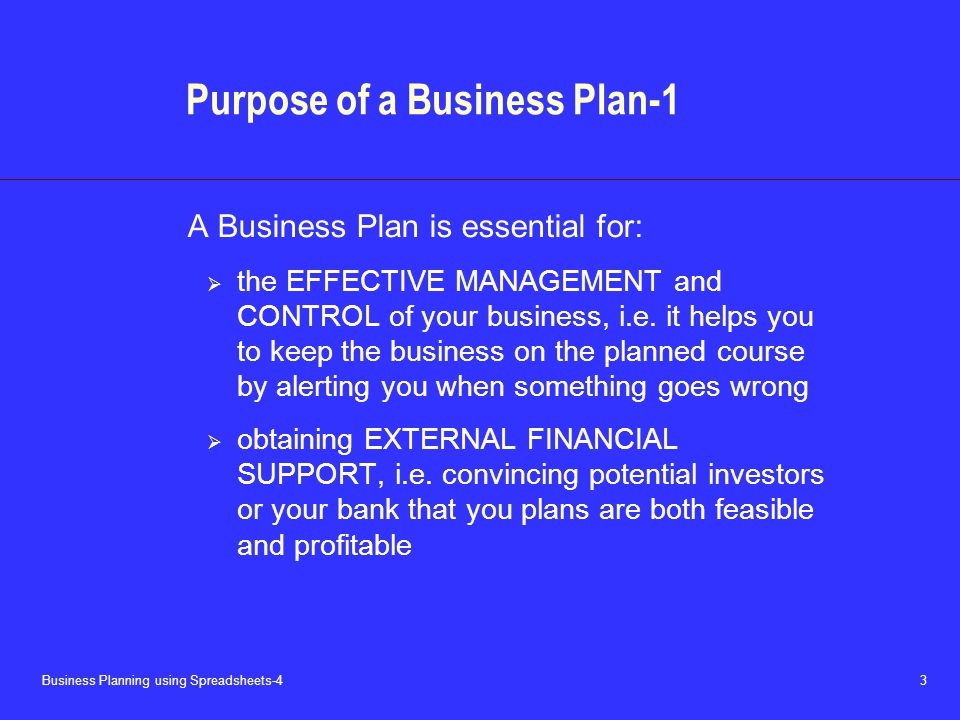 Business Planning using Spreadsheets-4 3 Purpose of a Business Plan-1 A Business Plan is essential for:  the EFFECTIVE MANAGEMENT and CONTROL of your