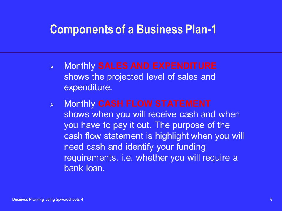 Business Planning using Spreadsheets-4 6 Components of a Business Plan-1  Monthly SALES AND EXPENDITURE shows the projected level of sales and expenditure.