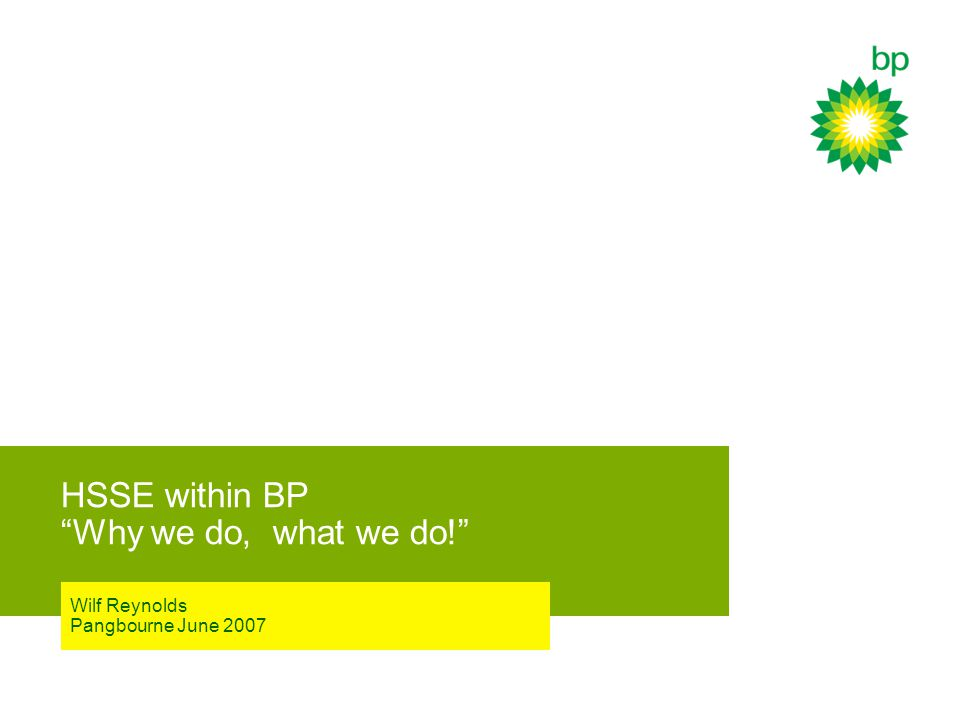 HSSE within BP Why we do, what we do! Wilf Reynolds Pangbourne June 2007