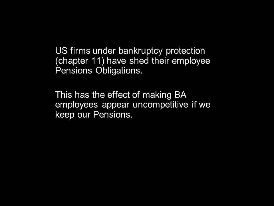 US firms under bankruptcy protection (chapter 11) have shed their employee Pensions Obligations.