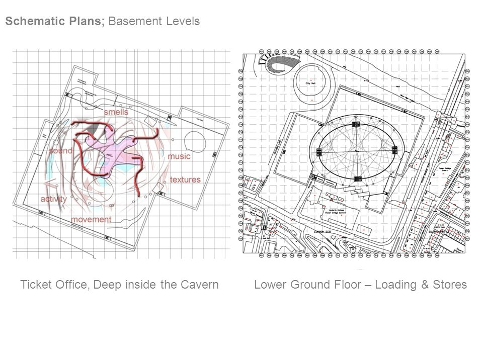 Schematic Plans; Basement Levels Ticket Office, Deep inside the CavernLower Ground Floor – Loading & Stores