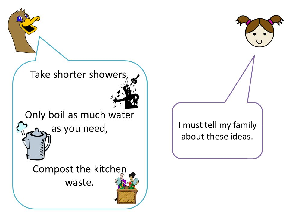 Take shorter showers, Only boil as much water as you need, Compost the kitchen waste.