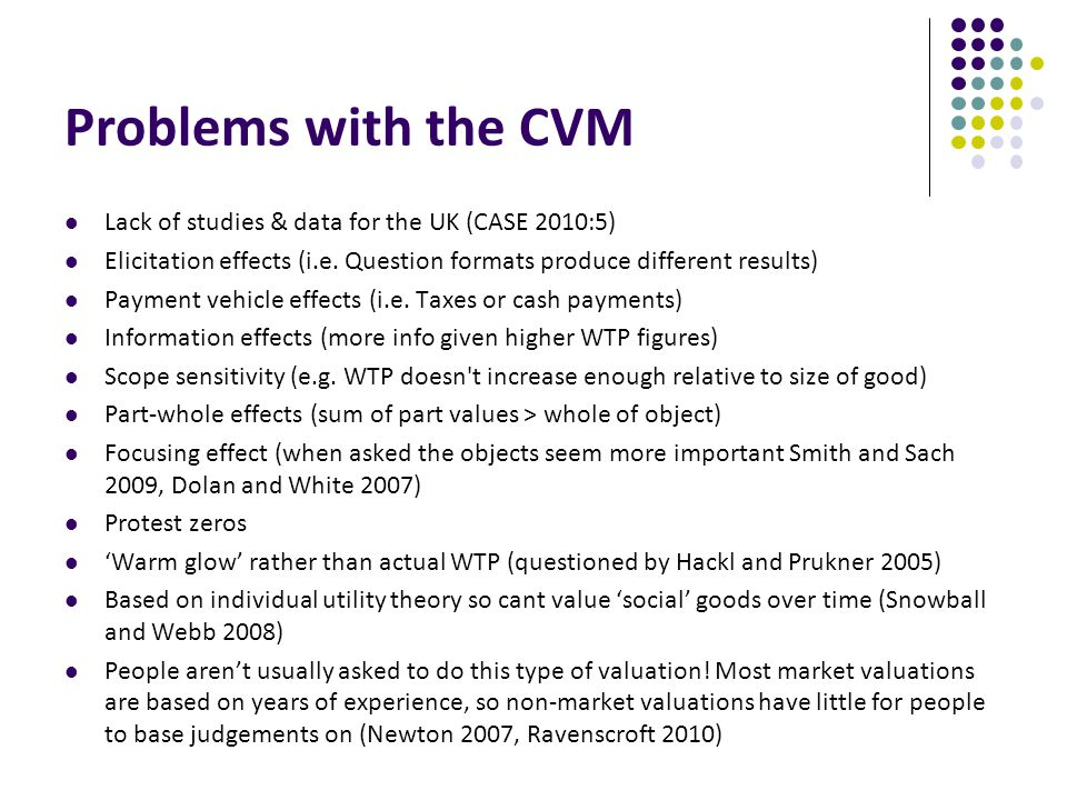Problems with the CVM Lack of studies & data for the UK (CASE 2010:5) Elicitation effects (i.e.