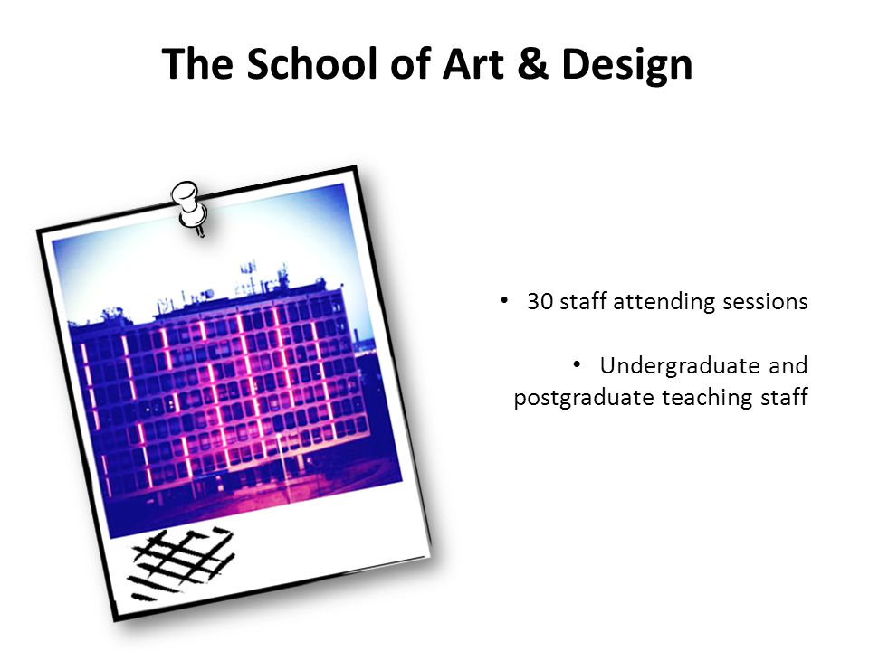 The School of Art & Design 30 staff attending sessions Undergraduate and postgraduate teaching staff