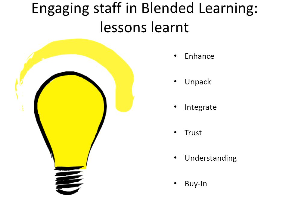 Engaging staff in Blended Learning: lessons learnt Enhance Unpack Integrate Trust Understanding Buy-in