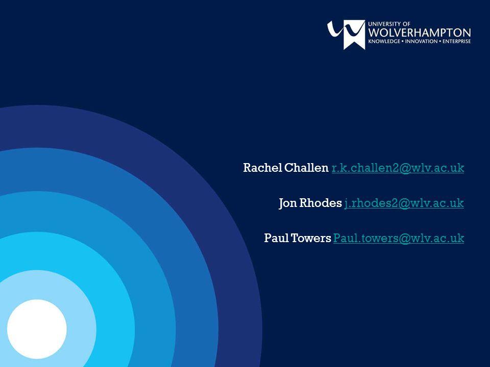 Rachel Challen r.k.challen2@wlv.ac.ukr.k.challen2@wlv.ac.uk Jon Rhodes j.rhodes2@wlv.ac.ukj.rhodes2@wlv.ac.uk Paul Towers Paul.towers@wlv.ac.ukPaul.towers@wlv.ac.uk