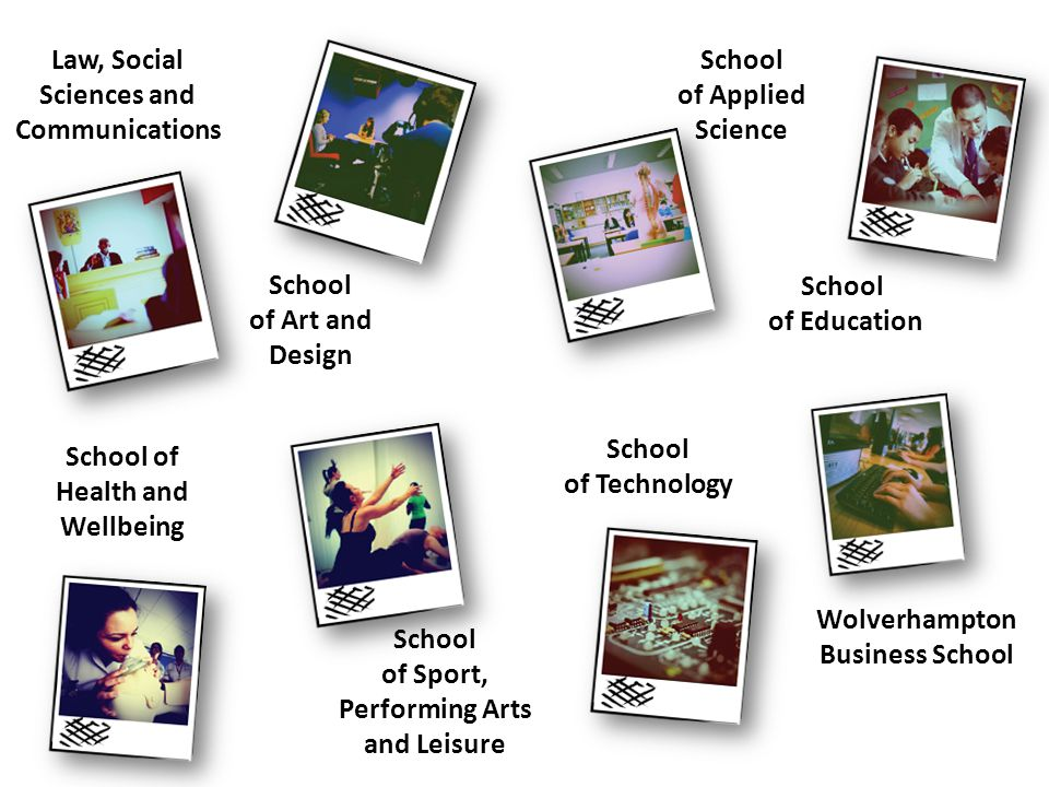 Law, Social Sciences and Communications School of Art and Design School of Applied Science School of Education Wolverhampton Business School School of