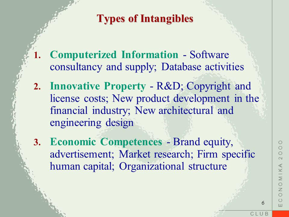 C L U B E C O N O M I K A 2 O O O Types of Intangibles 1. Computerized Information - Software consultancy and supply; Database activities 2. Innovativ