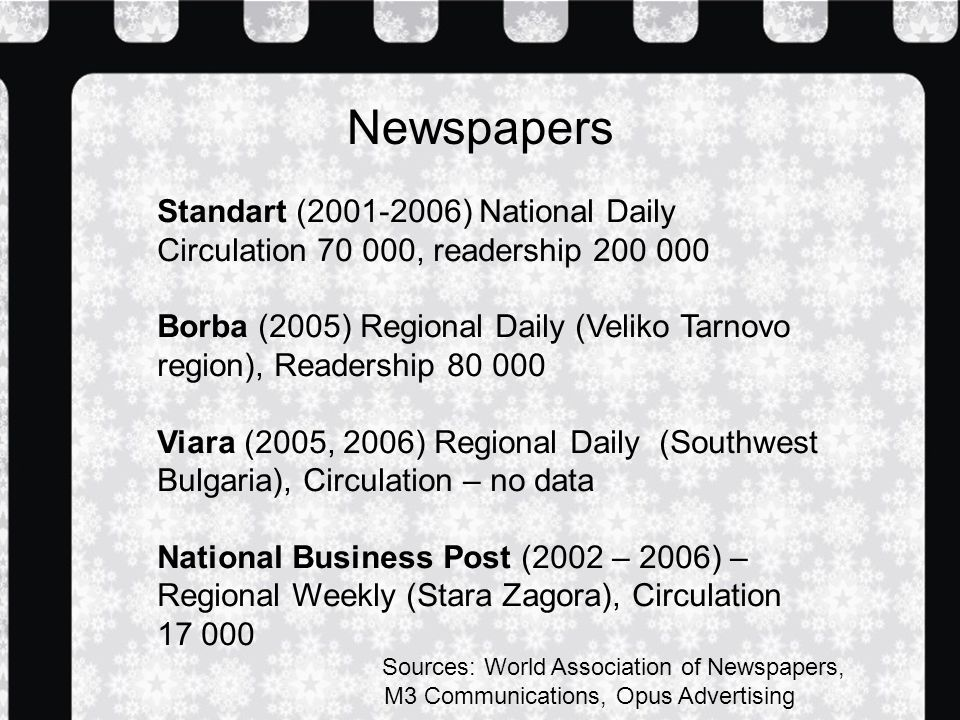 Newspapers Standart ( ) National Daily Circulation , readership Borba (2005) Regional Daily (Veliko Tarnovo region), Readership Viara (2005, 2006) Regional Daily (Southwest Bulgaria), Circulation – no data National Business Post (2002 – 2006) – Regional Weekly (Stara Zagora), Circulation Sources: World Association of Newspapers, M3 Communications, Opus Advertising