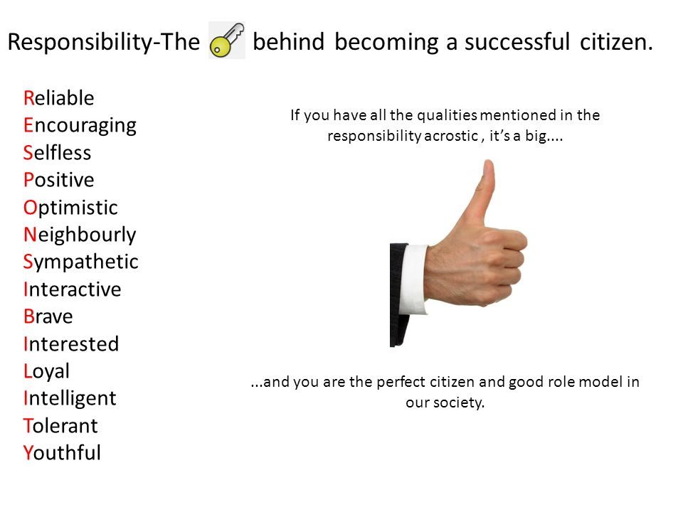 Reliable Encouraging Selfless Positive Optimistic Neighbourly Sympathetic Interactive Brave Interested Loyal Intelligent Tolerant Youthful Responsibility-The behind becoming a successful citizen.