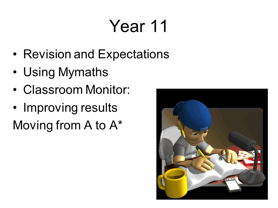 Year 11 Revision and Expectations Using Mymaths Classroom Monitor: Improving results Moving from A to A*