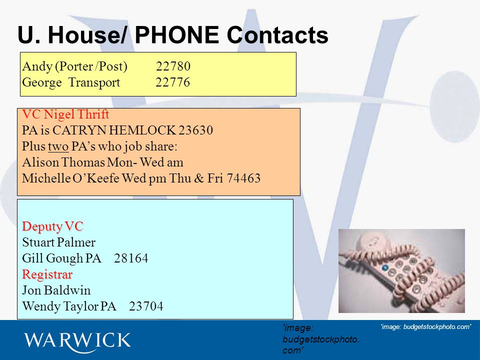 3 U. House/ PHONE Contacts Andy (Porter /Post) 22780 George Transport 22776 VC Nigel Thrift PA is CATRYN HEMLOCK 23630 Plus two PA's who job share: Al