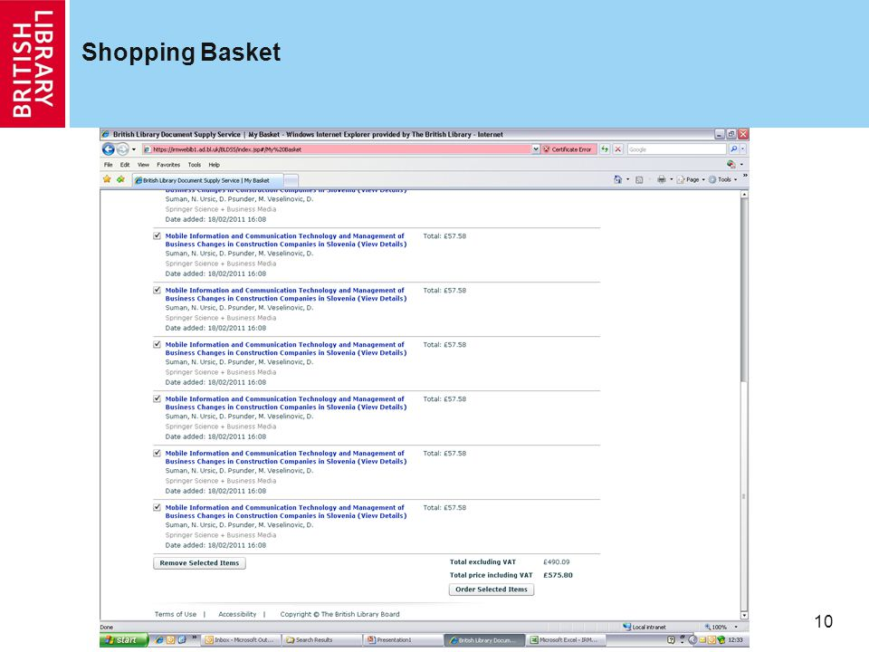 10 Shopping Basket
