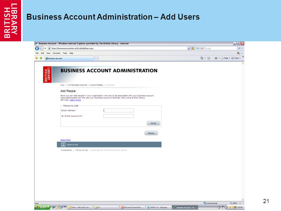 21 Business Account Administration – Add Users