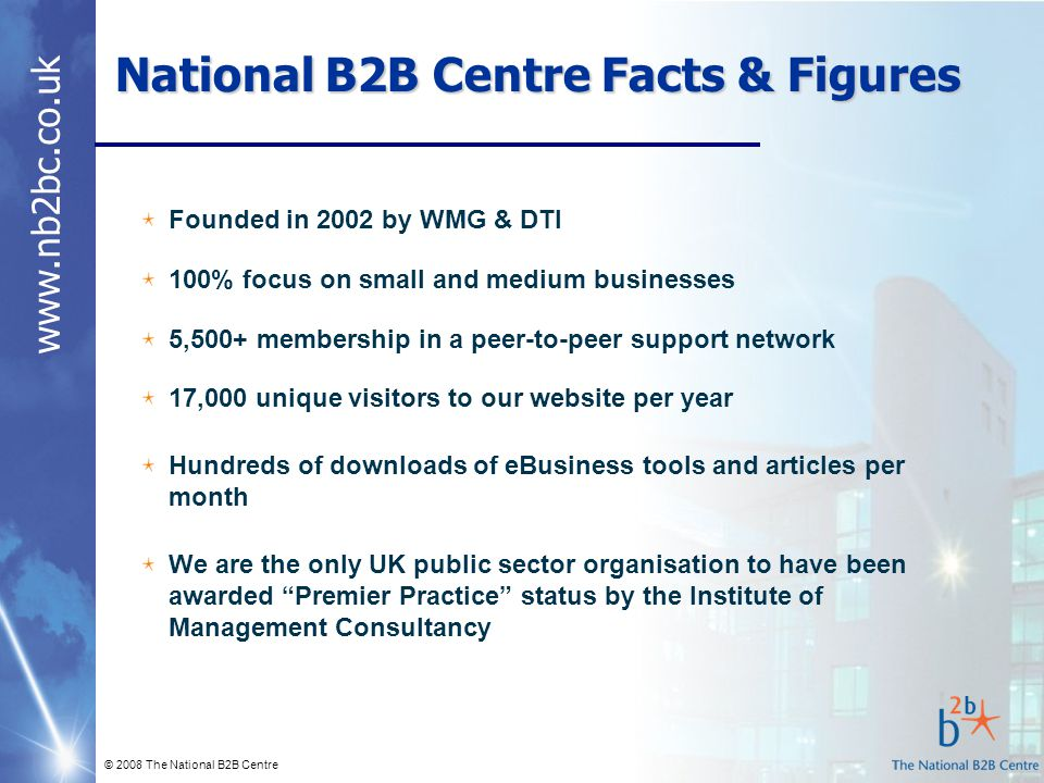 www.nb2bc.co.uk © 2008 The National B2B Centre National B2B Centre Facts & Figures Founded in 2002 by WMG & DTI 100% focus on small and medium busines