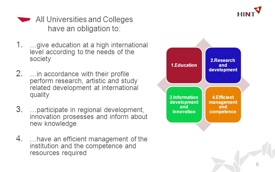 All Universities and Colleges have an obligation to: 1.