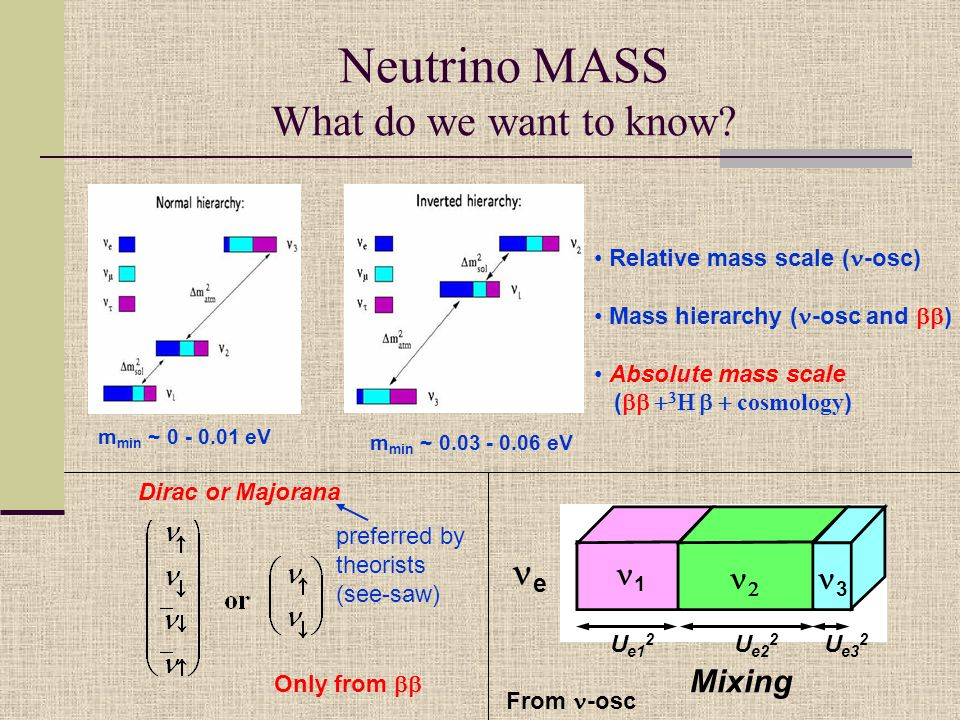 Neutrino MASS What do we want to know.