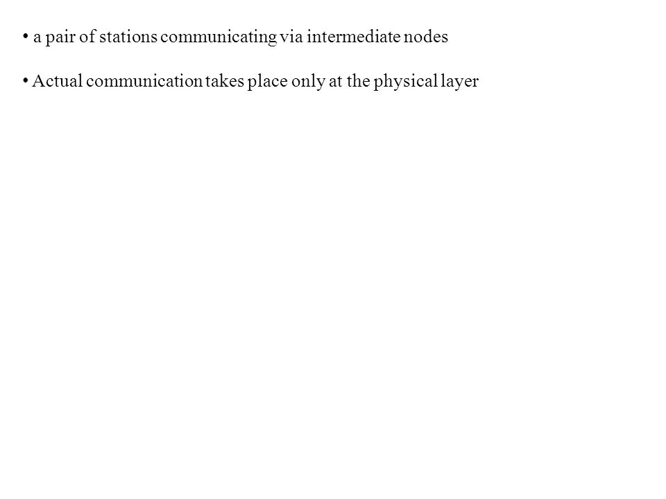 a pair of stations communicating via intermediate nodes Actual communication takes place only at the physical layer